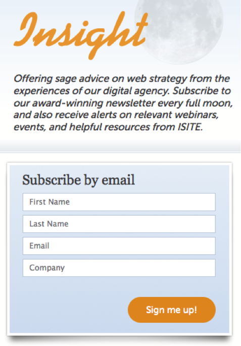 Isite sign up box